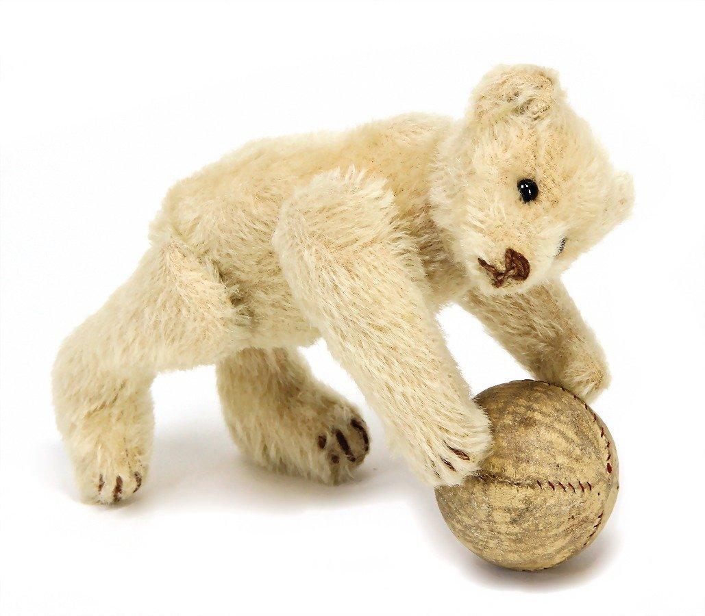 STEIFF pre-war era bear, white mohair, with button,