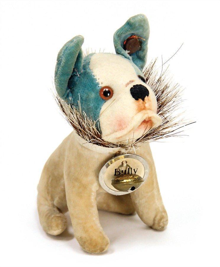 STEIFF Bully, velvet, white/blue, with button, long