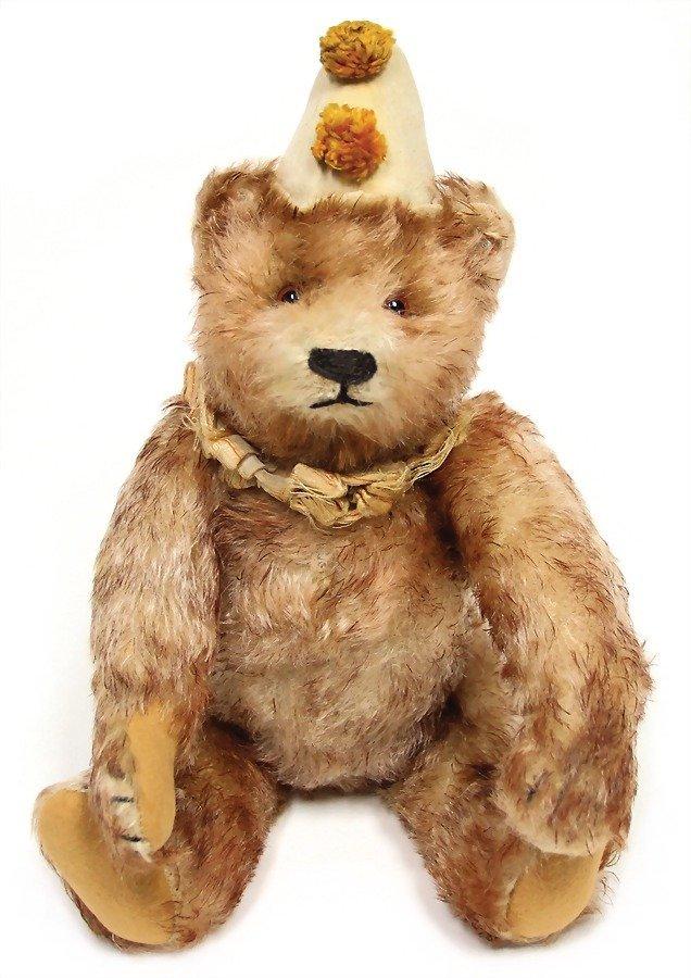 STEIFF clown-teddy, mohair plush, 31 cm, pink, tipped,