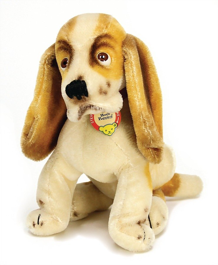 Steiff Hush Puppies Dog Sitting With Button Chest