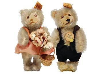 STEIFF bridle couple, Dicky, dressed as man and woman,