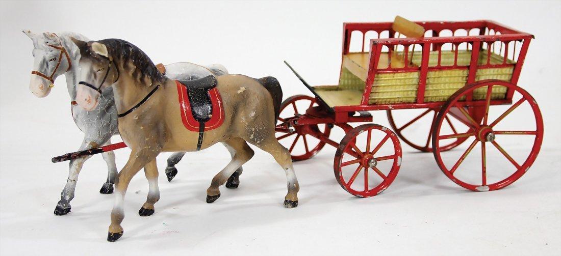 MÄRKIN horse and cart, sheet metal, handpainted, 2
