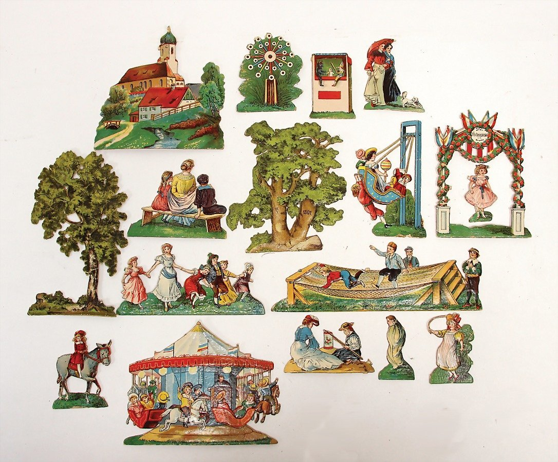 paper figures, pressed cardboard, lithographed, around