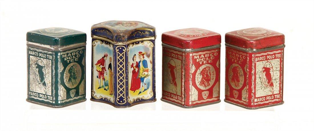 4 shop tins, lithographedsheet metal, height: 5 cm