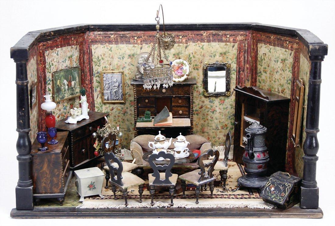 BIEDERMEIER dollhouse case, 48 x 32 x 28 cm, old
