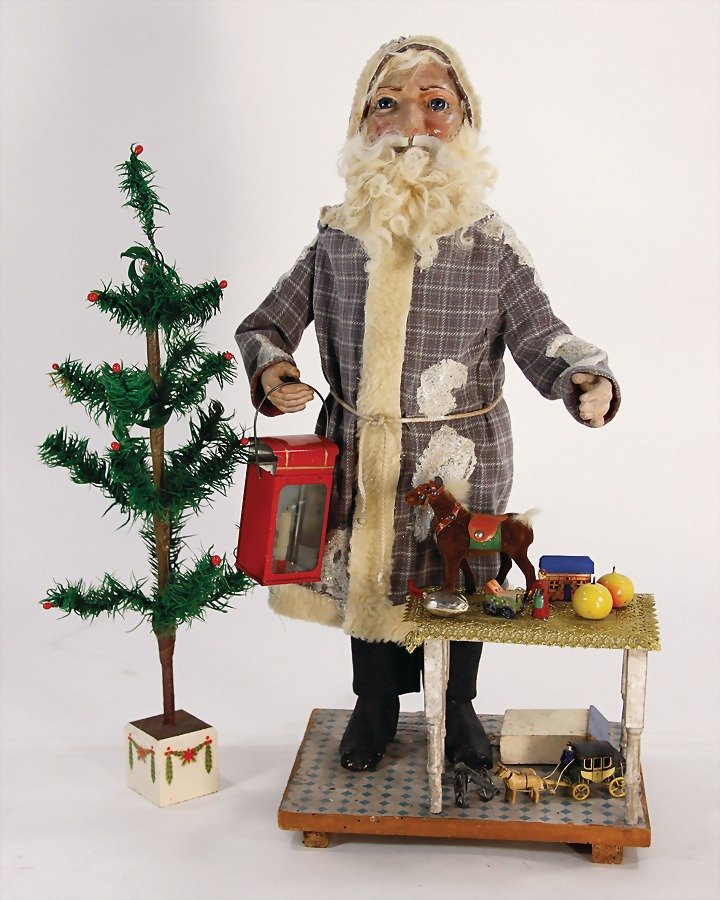 Santa Claus, head nodder machine, papier mâ