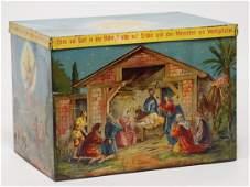 "Christmas box, sheet metal lithographed, ""Ehre sei"