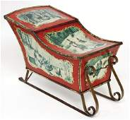 Christmas box in a shaped like a sledge, lithographed