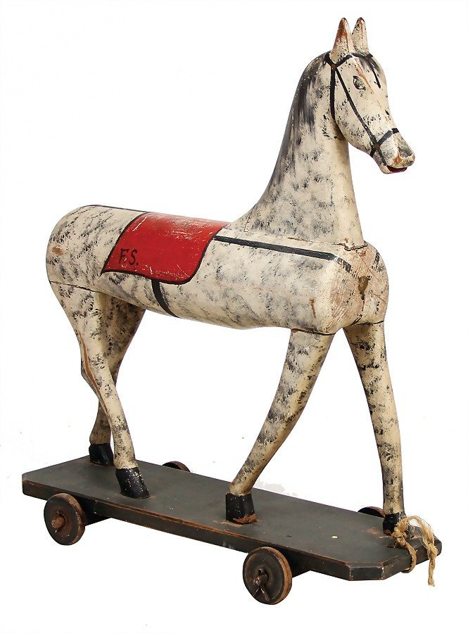 painted  wooden horse on wheels, c. 1860, tail