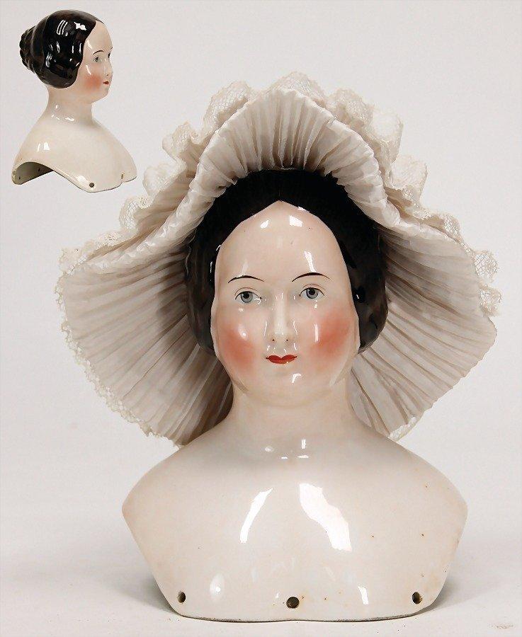 BIEDERMEIER enameled shoulder headed doll, painted