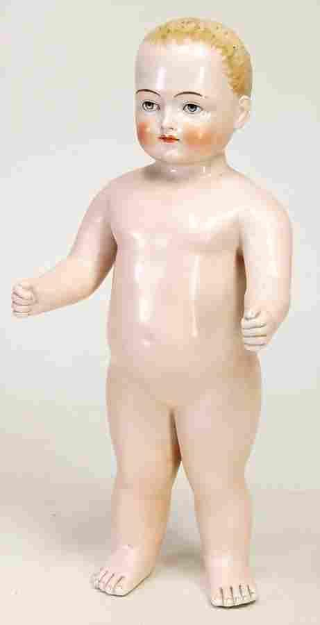 Porzellan-Badepuppe, Frozen Charly, glasiertes