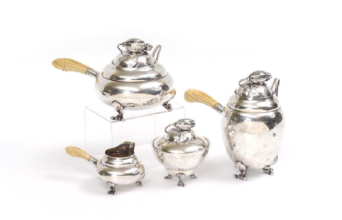 4 PIECE GEORG JENSEN BLOSSOM STERLING TEA SERVICE