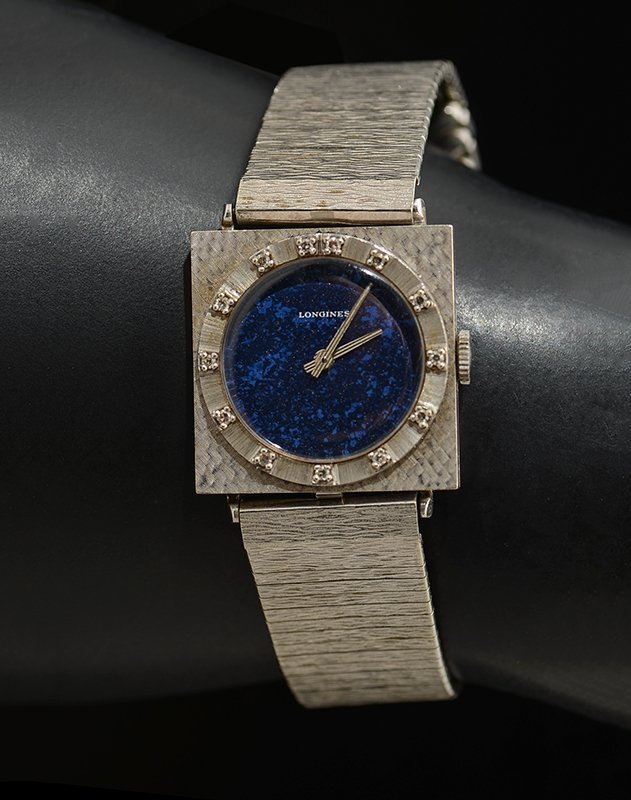 LADIES LONGINES 14K WATCH WITH MIDNIGHT BLUE FACE