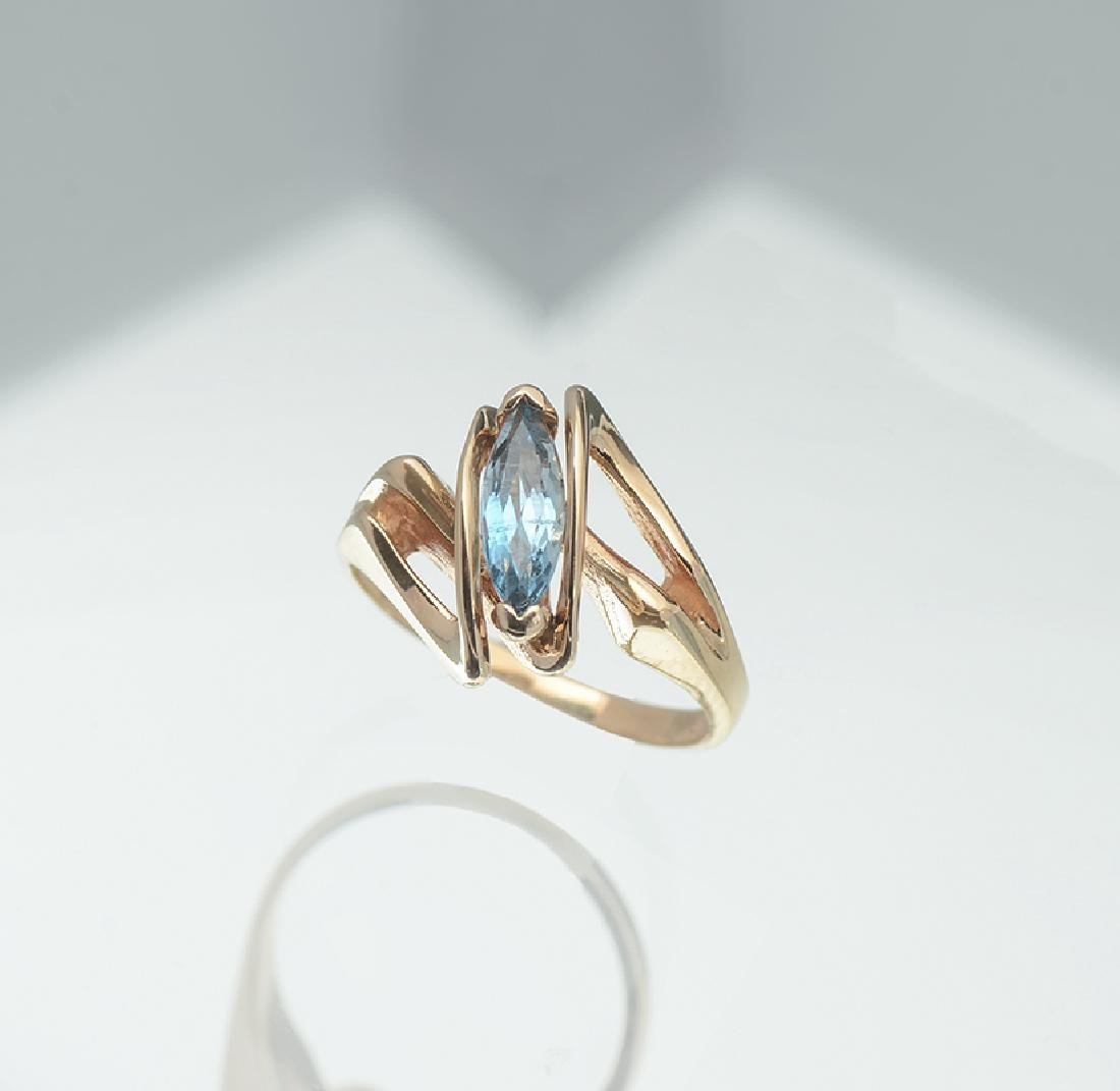 14K 1980S AQUAMARINE RING