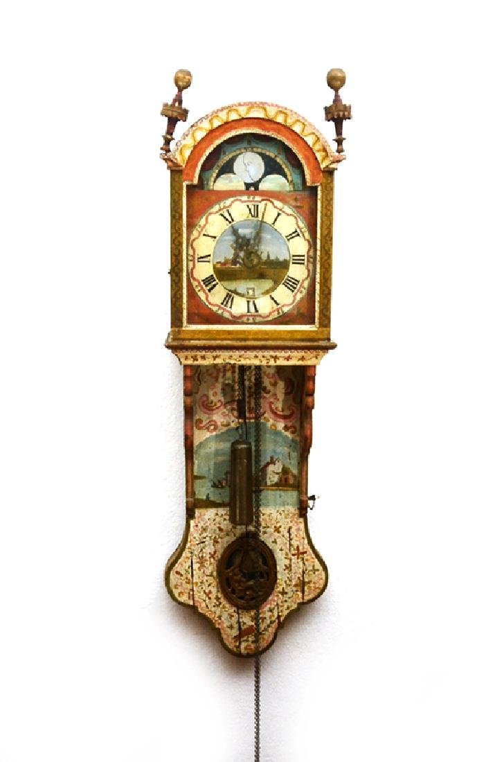 DUTCH PAINT DECORATED STAARTKLOCK TAIL WALL CLOCK