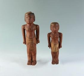 TWO EGYPTIAN CARVED ANTIQUITY FIGURES