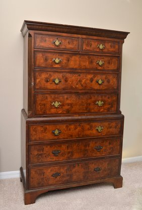 PERIOD CHIPPENDALE CHEST ON CHEST
