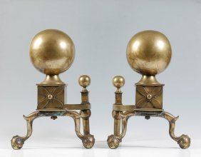 PAIR 19TH CENTURY CANNONBALL BRASS ANDIRONS
