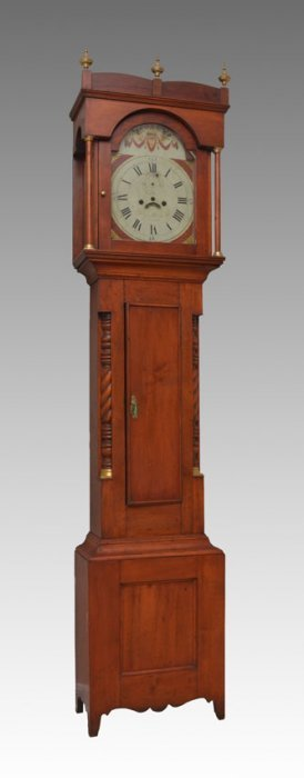 EARLY 19TH CENTURY CHERRY CONCORD TALL CASE CLOCK
