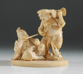 ANTIQUE CARVED IVORY MUSICIAN FIGURAL GROUP