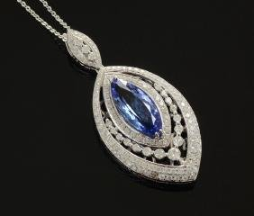 DAZZLING 14K TANZANITE & DIAMOND NECKLACE/PENDANT