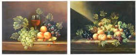 TWO CLASSICALLY STYLED STILL LIFE PAINTINGS OF FRUIT