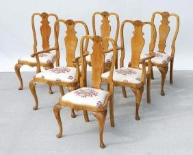 SET OF SIX CARVED CHIPPENDALE STYLE CHAIRS