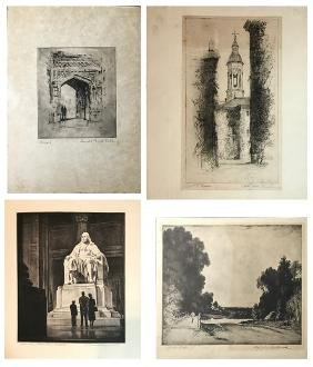 4 ETCHINGS BY KELLOGG, FULLWOOD, CLAYHORN AND TOWN