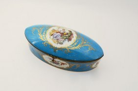 FRENCH SEVRES STYLE COVERED DRESSER BOX