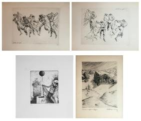 4 pc PRINT LOT HANSMANN ACKERMANN, ETC