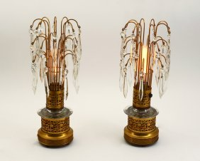 PAIR PIERCED BRASS TABLE LAMPS WITH PRISMS