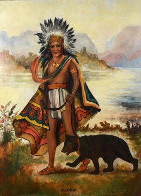 NATIVE AMERICAN PORTRAIT PAINTING SIGNED OLVER