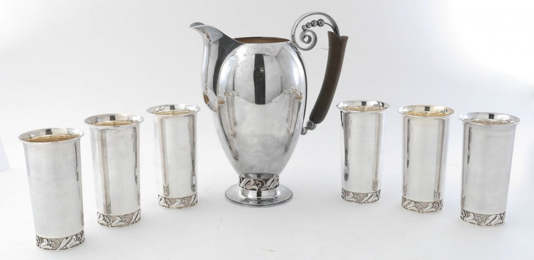 7 PIECES HIRATA  & CO. STERLING LEMONADE SET