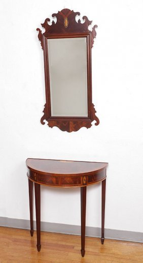HEKMAN INLAID DEMILUNE TABLE & CHIPPENDALE MIRROR