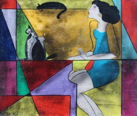 """ORIGNAL LINDA LE KINFF PAINTING """"CAMILLE & 3 CATS"""""""