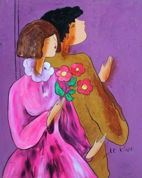 ORIGINAL LINDA LE KINFF PAINTING YOUNG COUPLE