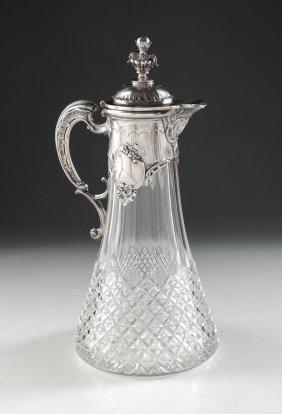 GERMAN .800 SILVER MOUNTED CUT GLASS CLARET JUG