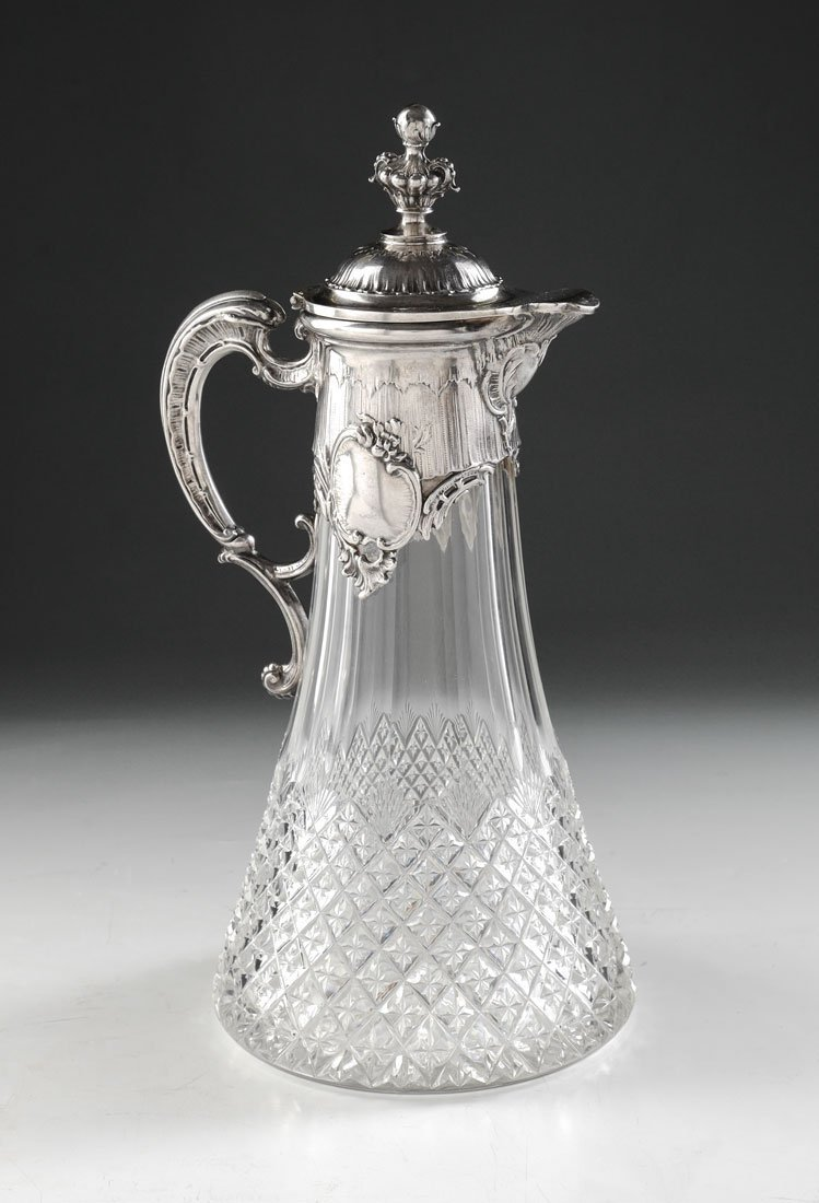 GERMAN .800 SILVER MOUNTED CUT GLASS CLARET JUG