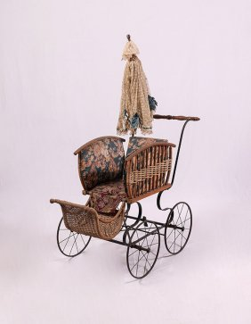 VICTORIAN WICKER BABY BUGGY WITH PARASOL