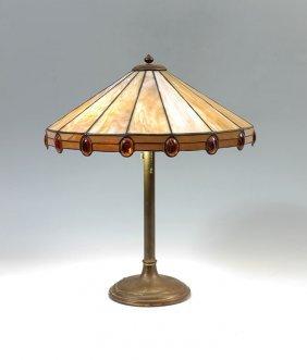 LEADED SLAG GLASS TABLE LAMP