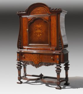 MARQUETRY INLAID CLOSED CHINA CABINET HUTCH