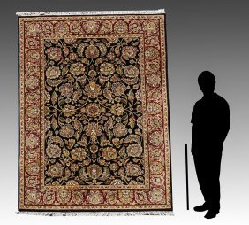 "INDO-PERSIAN HAND KNOTTED WOOL RUG, 6'1"" X 9'1"""