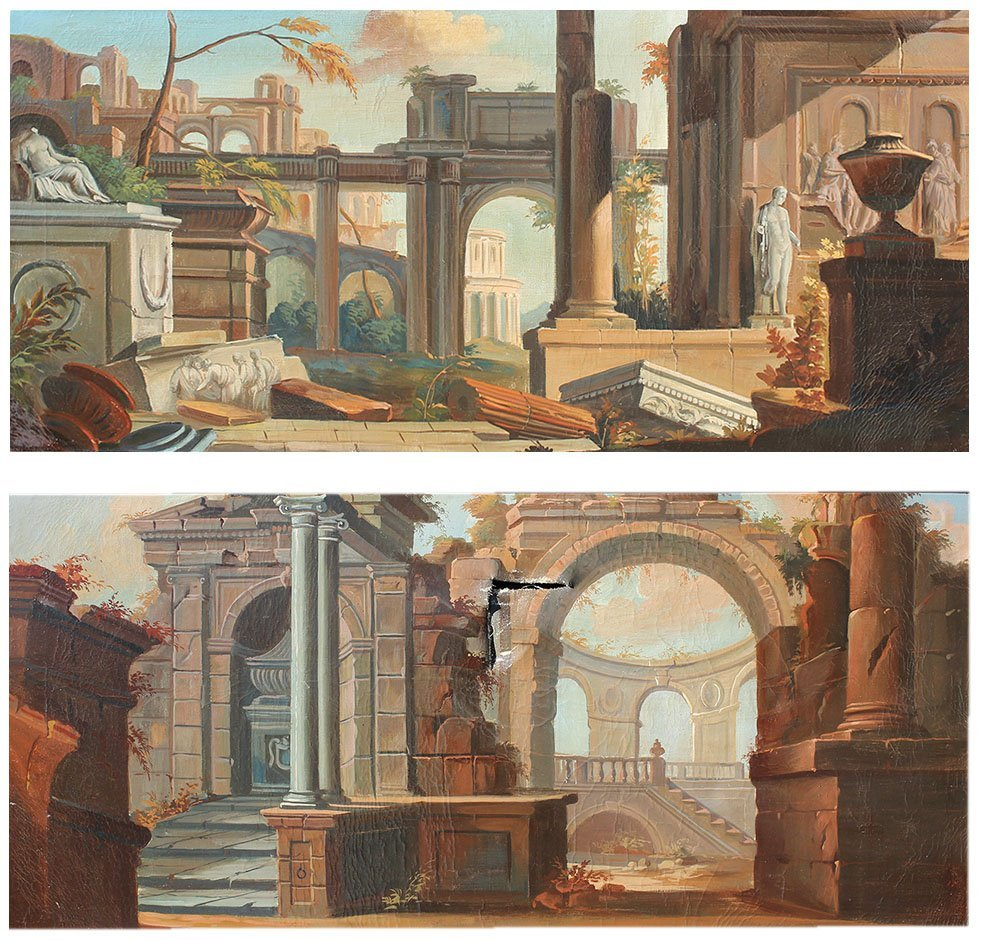 PAIR OF NEOCLASSICAL STYLE PAINTINGS RUINS