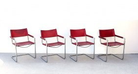 4 MATTEO GRASSI LEATHER AND CHROME VISITOR CHAIRS