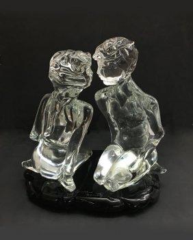 LOREDANO ROSIN MURANO GLASS SCULPTURE OF 2 LOVERS