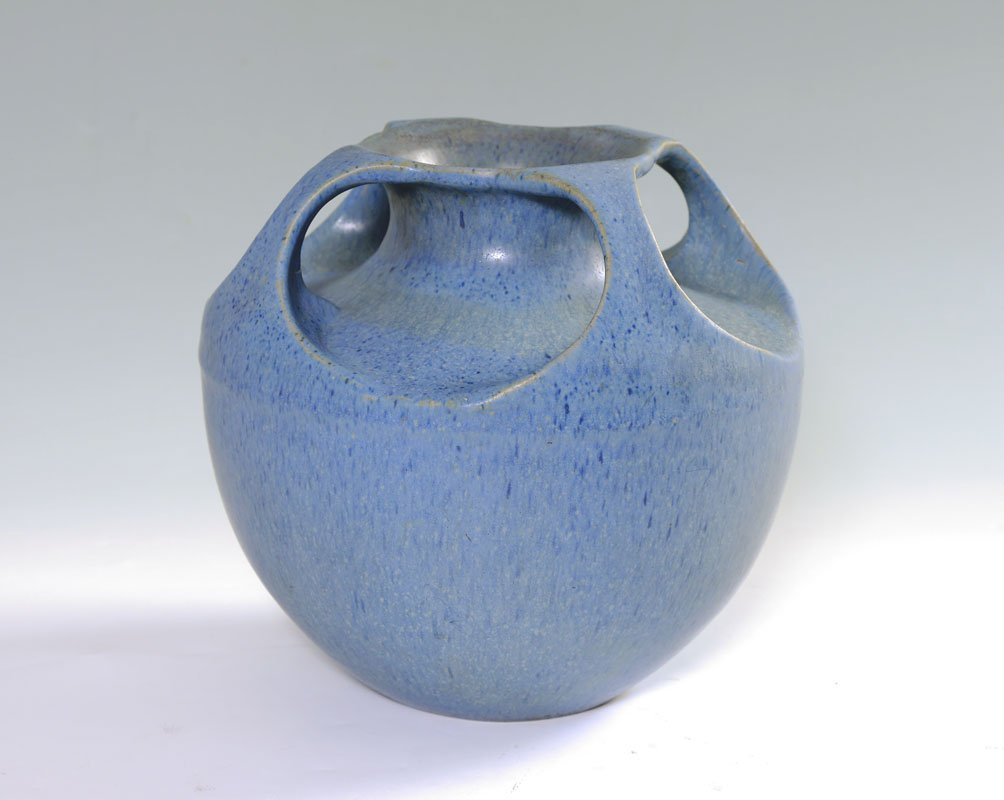 FULPER BLUE GLAZE FOUR HANDLED VASE