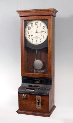 VINTAGE IBM OAK PUNCH TIME CLOCK