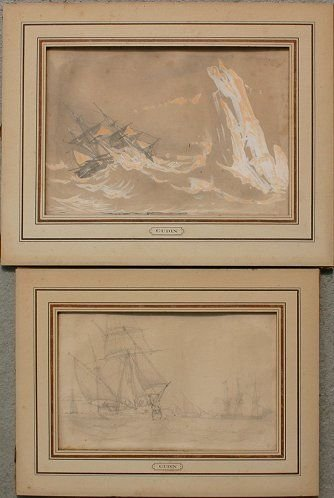 10: PAIR OF 19TH C. MARITIME WORKS ON PAPER BY GUDIN