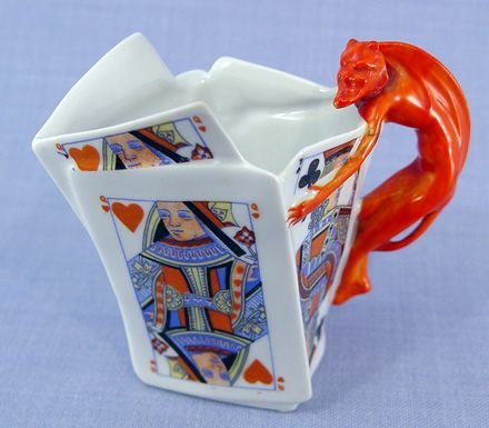 12: ROYAL BAYREUTH DEVIL AND CARDS CREAM PITCHER