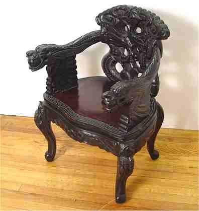 14: CHINESE CARVED DRAGON ARM CHAIR